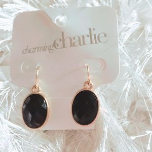 Charming Charlie NWT Black Gold Tone Earrings